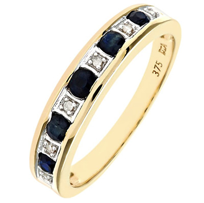 9ct Yellow Gold Blue Sapphire & Diamond Eternity Ring - All Sizes - New • 89.95£