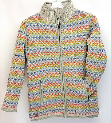 Sale Pachamama Wool Chunky Knit Jacket Oatmeal Multi Pattern Fleece Lined S,m,l • 45.50£