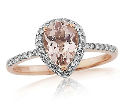 £135 • Buy 9ct Rose Gold Morganite & Diamond Pear Engagement Ring - All Sizes - New