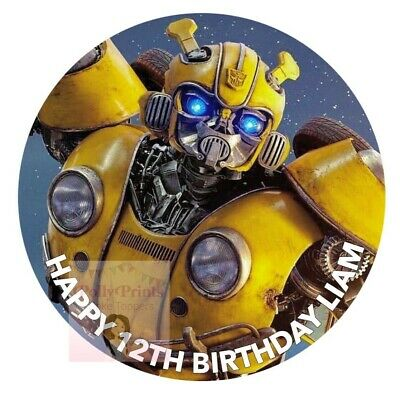 Transformers Bumblebee Cake Topper Round Personalised Edible Icing D2 • 5.99£