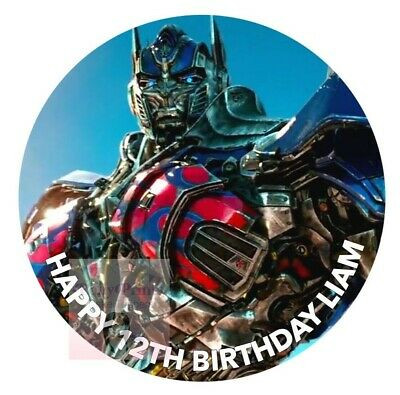 £5.99 • Buy Transformers Optimus Prime Cake Topper Round Personalised Edible Icing D1