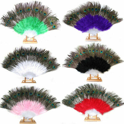 £5.27 • Buy Large Fold Feather Hand Fan Peacock Eye Showgirl Dance Costume Party Show 82UK