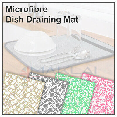 £4.49 • Buy Microfibre DISH DRYING MAT For Sink Washing Up Drainer Pad Rack Glass Tea Towel