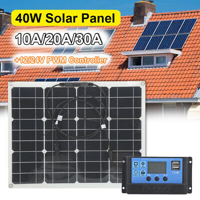 £42.27 • Buy 40W 10-30A Solar Panel Kit+12V/24V PWM Controller Battery Charger+Cable USB Car