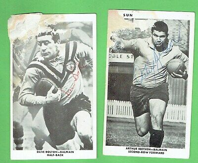 AU150 • Buy #d284. Two Signed 1967 Sun Newspaper Balmain Tigers Rugby League Cards - Damaged