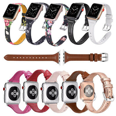 AU15.89 • Buy Slim Genuine Leather Watch Band For Apple Watch Band Strap Series SE 6 5 4 3 2 1