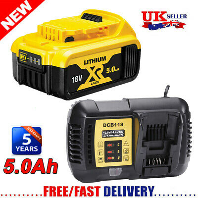 For DeWalt DCB184 18V 5Ah Li-ion XR Slide Battery / Charger DCD785 DCF885 DCB182 • 51.99£