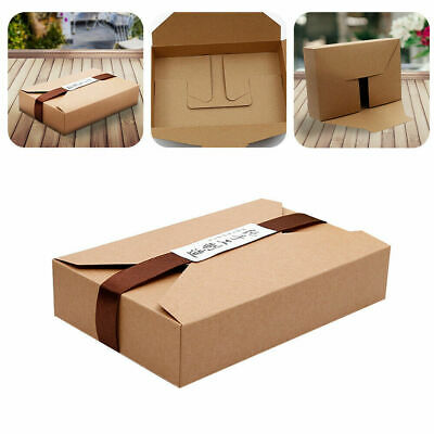 10xBrown Kraft Paper Cookie Packaging Gift Box Envelope Biscuit Storage Bags UK • 6.99£