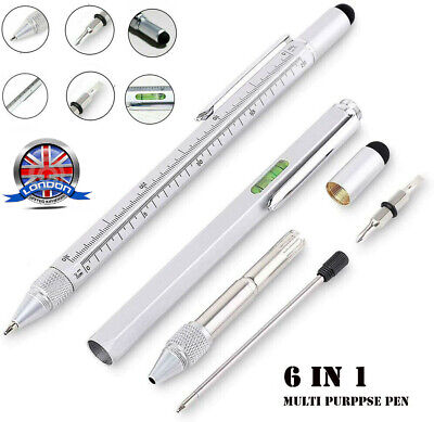 6 In 1 Handy Pen Multi Tool Gadget Stylus Ruler Screwdriver Spirit Level Pen UK • 4.26£