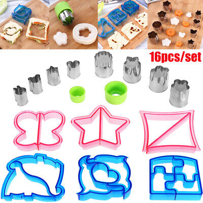 Set Of 16X Kids Lunch Sandwich Toast Cookies Mold Cake Bread Biscuit Cutter DIY • 10.95£