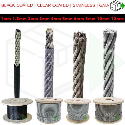 £8.95 • Buy  Stainless Clear Black Coated Galvanised Steel Wire Rope Lifting Metal Cable