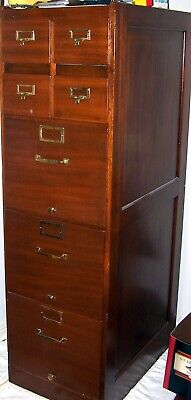 $1100 • Buy ANTIQUE STACKING FILE CABINET W/ 4 Library Card & 3 Letter Drawers - Around 1900