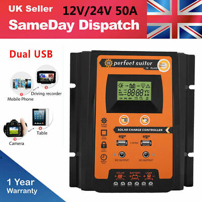 50A MPPT Solar Panel Battery Regulator Charge Controller Two USB LCD Display UK • 19.99£