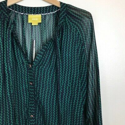 $ CDN38.20 • Buy Anthropologie Maeve Blue Green Chevron Tie Blouse Large