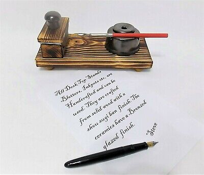 £19.99 • Buy £19.99 MINI Ink Blotter Calligraphy Inkwell Stand Desk Top Ink Fountain Dip Pen
