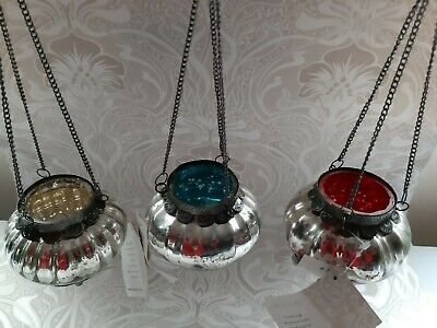 £10.95 • Buy Recycled Iron And Glass Crackle Hanging Tea Light Holder Lantern - Fairtrade