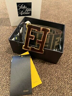 $180 • Buy Authentic FENDI Classic Brown/coffee Men's Leather Belt F Buckle 95/38 32/34