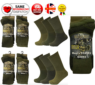 £5.99 • Buy Mens Army Military Combat Boots Hiking Padded Thermal Warm Thick Socks Size 6-11