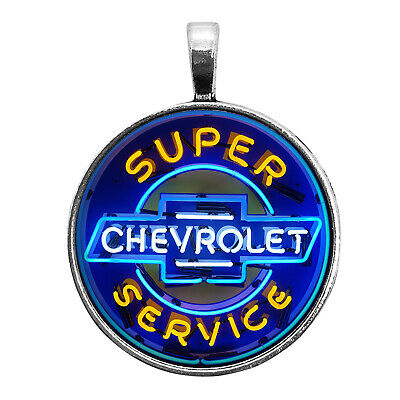 $12.95 • Buy Chevrolet Neon Sign Image Key Ring Necklace Cufflinks Tie Clip Ring Earrings