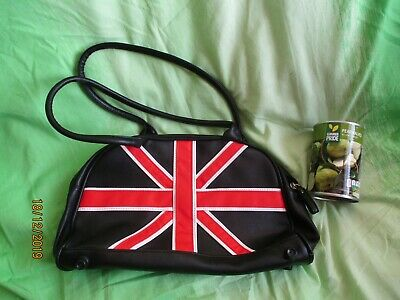 £14.99 • Buy Union Jack BAG Black EMO WOMENS Red Long Handles Leather Effect