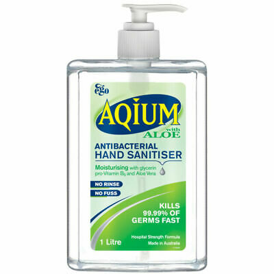 AU35 • Buy Aqium Hand Gel With Aloe 1L Quick Dry Water-less Sanitiser Protect Bacteria
