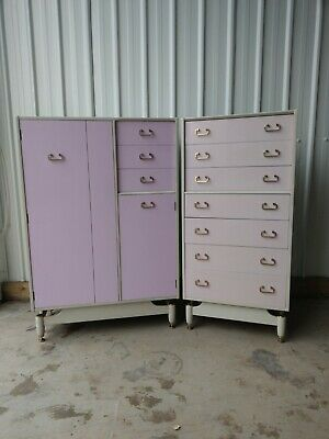 £620 • Buy G Plan Tola China White Lilac Wardrobe & Tallboy Chest Of Drawers Free Delivery
