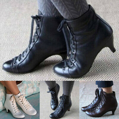 Women Ladies Low Kitten Heel Ankle Boot Victorian Retro Lace Up PU Casual Shoes • 24.99£