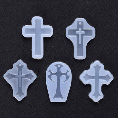 5X DIY Silicone Cross Mold Resin Jewelry Pendant Necklace Mould Craft  UK • 3.30£