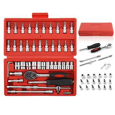 46X Metric Socket Set 1/4  Wrench Torx Drive Ratchet Driver Screwdriver Bit Kit • 11.51£