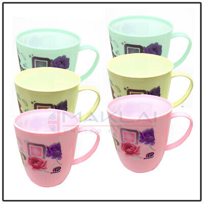 £6.99 • Buy 6 X FLORAL PLASTIC MUGS Reusable Drinking Cups Tea Coffee Camping Picnic Kids