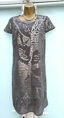 Sale New Rocha John Rocha Debenhams Grey Sequin Embellish Shift Dress Size 10-12 • 4.99£