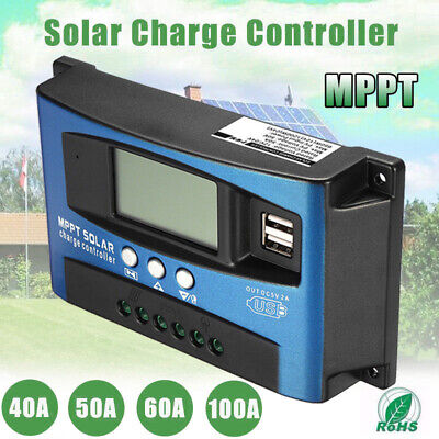 40A-100A MPPT Solar Panel  Charge Controller 12V/24V Auto Focus Tracking Device • 18.99£