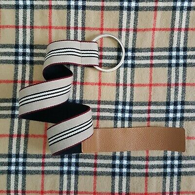 £39.90 • Buy Burberry Icon Stripe Double O Ring Canvas Leather Belt Size 34/85