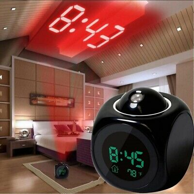 AU12.89 • Buy LED Digital Projection Alarm Clock Projector LCD Voice Talking Time Temperature