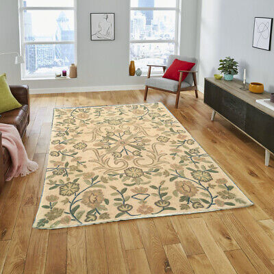 336 Vintage Aubusson Rug Handwoven Floral Needle Point Home Decoration Rug 2x3 • 50£