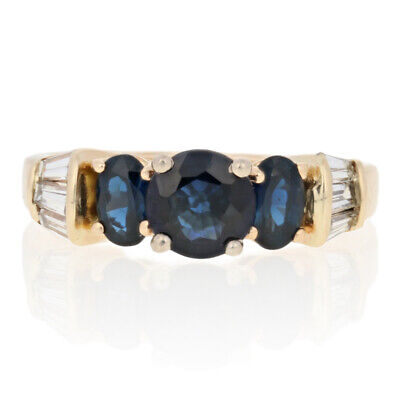 AU829.95 • Buy 2.76ctw Round Cut Sapphire & Diamond Ring - 14k Yellow Gold Engagement