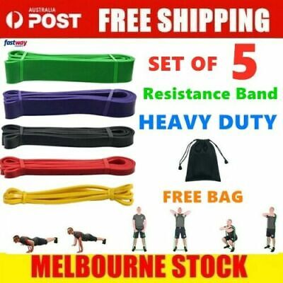 AU9.99 • Buy Set Of 5 Heavy Duty Resistance Band Loop Power Gym Fitness Exercise Yoga Workout