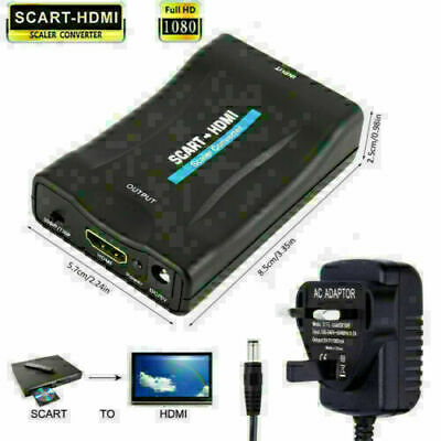 SCART To HDMI Adapter 1080P HD Video Audio Upscale Converter USB Cable TV DVD UK • 9.19£
