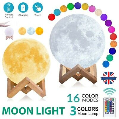 16 Colour Moon Lamp Dimmable LED 3D Night Light USB Recharge & Remote Control UK • 11.99£