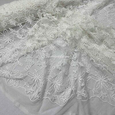 £12.99 • Buy Premium White Chantilly Lace Fabric Embroidery Bridal Wedding Corded Frill Dress