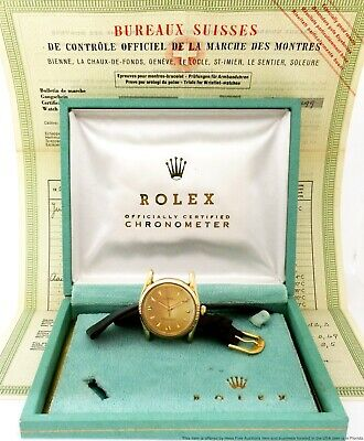 $ CDN8765.87 • Buy Rare Vintage Rolex Bombe 1011 14K Gold 1950s Box Papers Chronometer Mens Watch