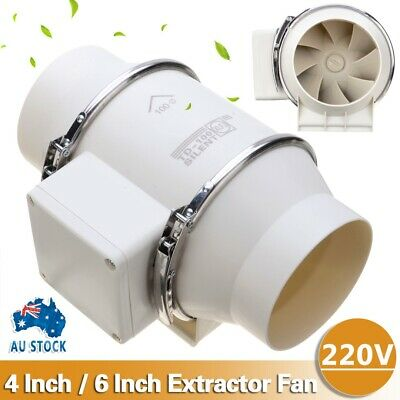 AU48.99 • Buy New 4/6  Silent Fan Extractor Duct Hydroponic Inline Exhaust Industrial Vent AU
