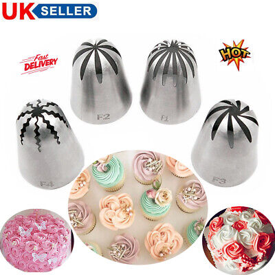 F1 F2 F3 F4 Russian Large Cake Tips Set Icing Piping Pastry Nozzle Cupcake Tool • 5.28£