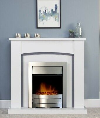 £349 • Buy Electric Fire White Grey Fireplace Surround Set Silver Brushed Steel Coal Flame