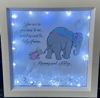 Disney Dumbo Mother And Baby Wall Art, Personalised Light Up Box Frame Gift • 15£