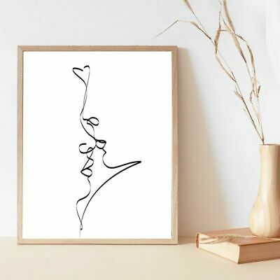 £18.99 • Buy Drawing Print Abstract Couple Kiss Single Line Poster Bedroom Wall Art Canvas