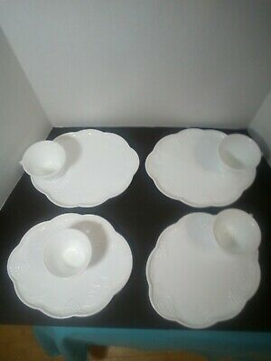 $39.99 • Buy Vintage Milk Glass Luncheon Snack High Tea Set With Plate And Tea Cup 8 Pieces