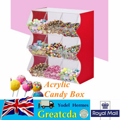 Stacking Pick & Mix Dispensers 9 Compartments Display Box Wedding Sweet Stand   • 164£