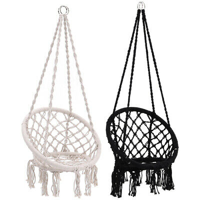 Cotton Rope Hanging Hammock Swing Chair Macrame Woven Seat Indoor Outdoor Travel • 159.54£