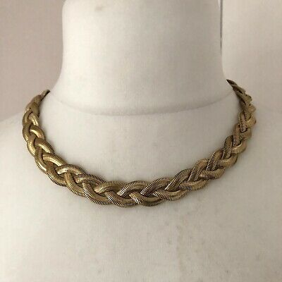 Gold Tone Flat Snake Chain Necklace Plaited Twisted Retro Runway Power Dressing • 12.99£